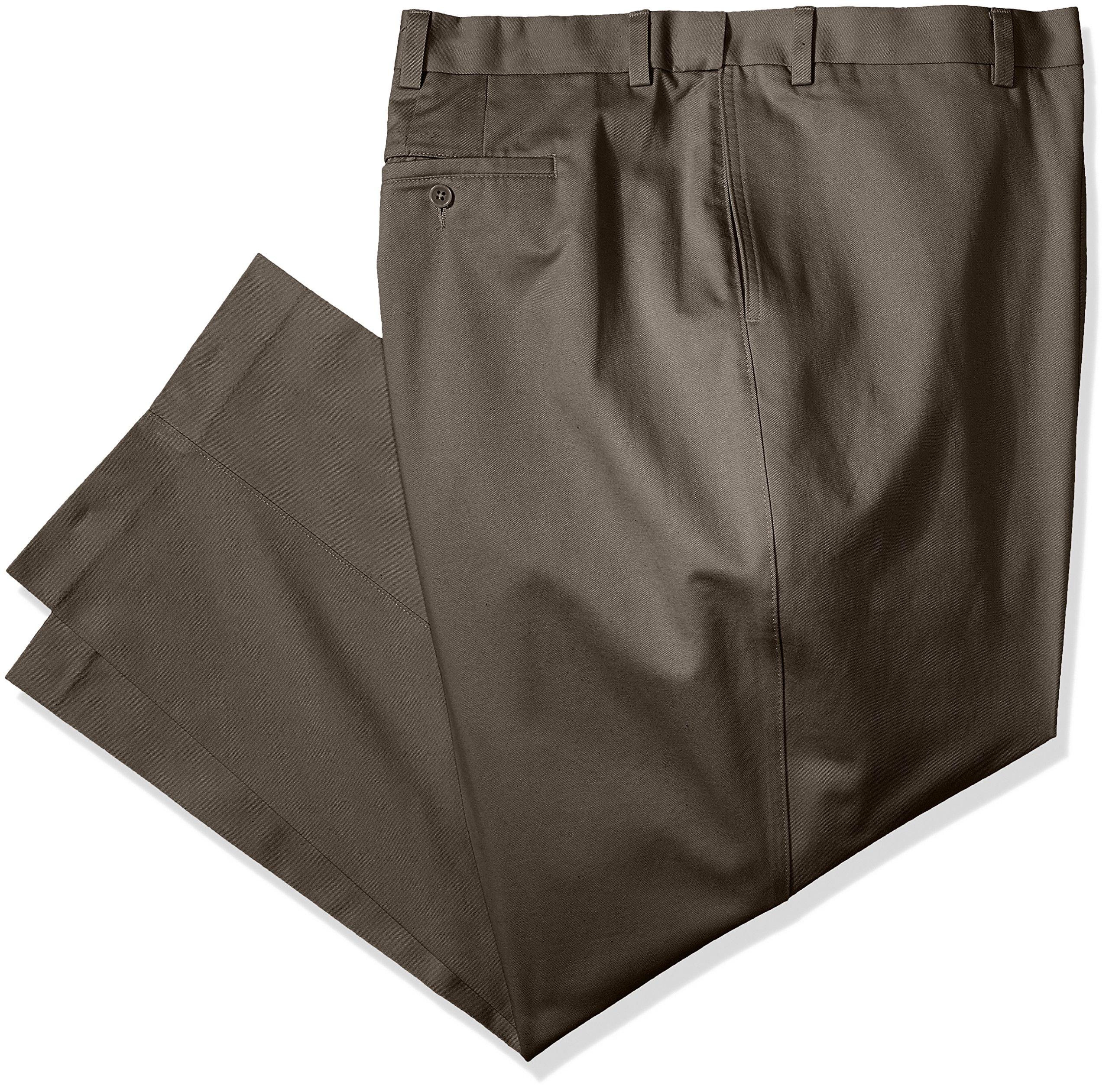 Savane Men's Big and Tall Flat Front Performance Chino Pant, Shale, 36W x 38L
