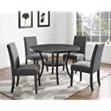Roundhill Furniture D162GY Biony Dining Collection Espresso Wood Set with Gray Fabric Nailhead Chairs
