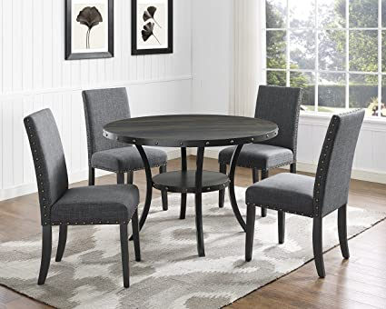 Roundhill Furniture D162GY Biony Dining Collection Espresso Wood Set Fabric Nailhead Chairs Gray