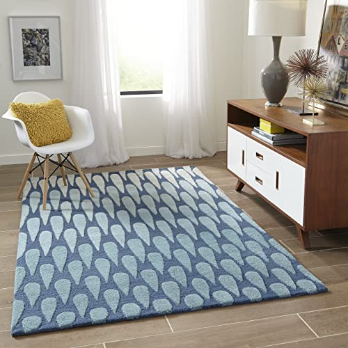 Momeni Rugs Dunes Collection, Hand Tufted 100 Wool Transitional Area Rug, 5 x 8 , Blue