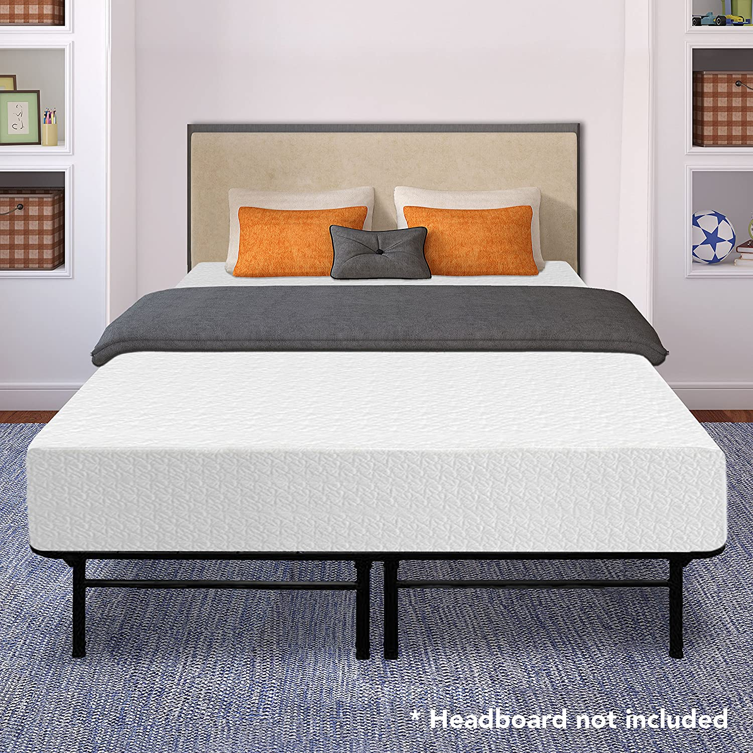 "Best Price Mattress 12"" Memory Foam Mattress and 14"" Premium Steel Bed Frame/Foundation Set, Queen"