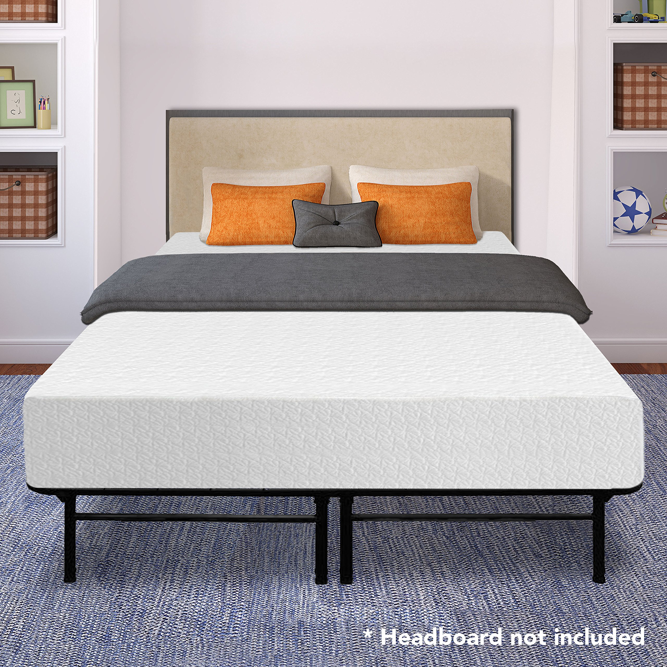 Best Price Mattress 12'' Memory Foam Mattress and 14'' Premium Steel Bed Frame/Foundation Set, California King