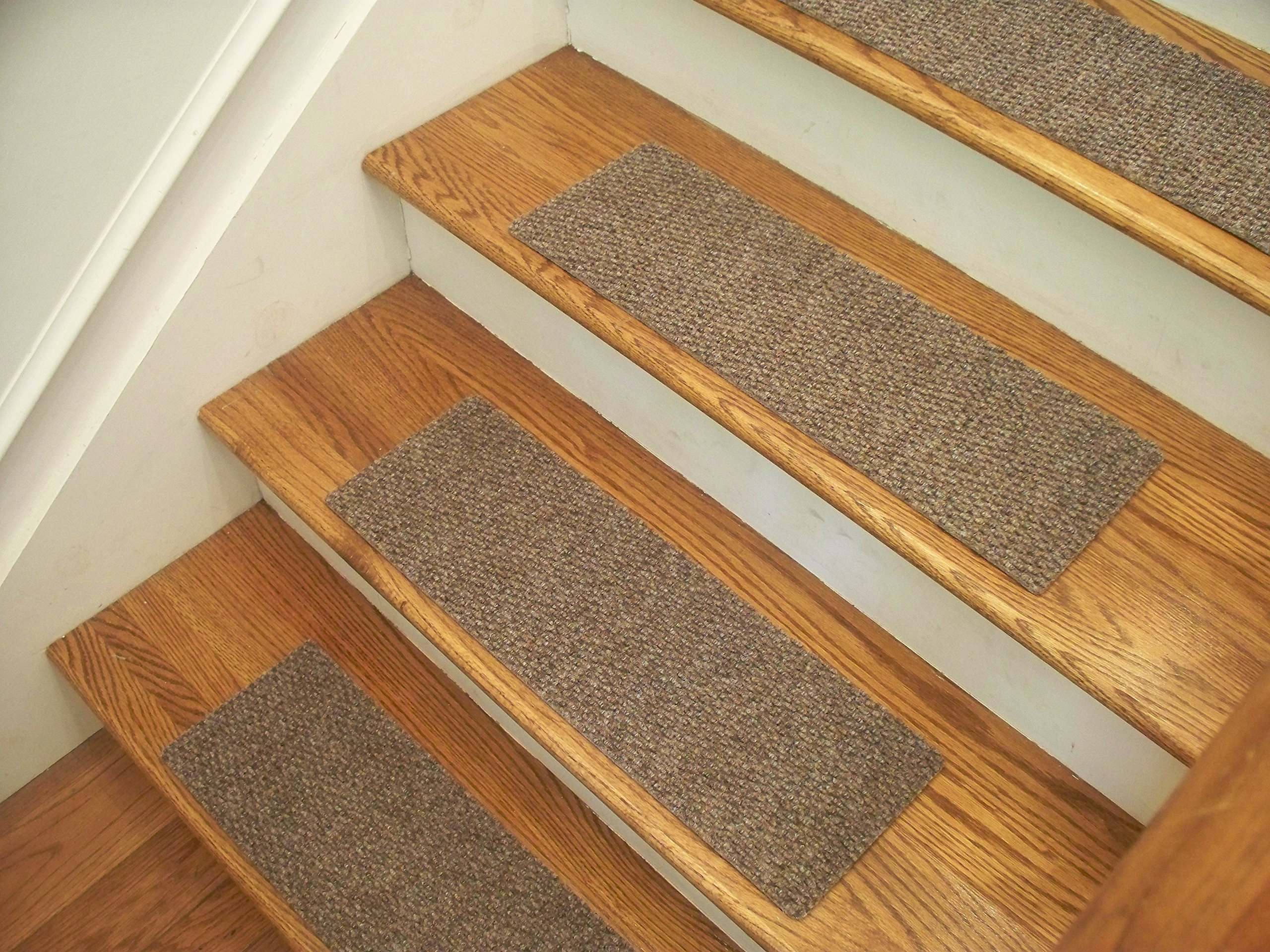 Essential Carpet Stair Treads - Style: Berber - Color: Beige Gray - Size: 24'' x 8'' - Set of 13 by Essential Specialty Products