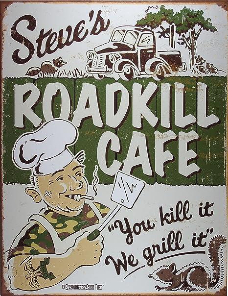 Cartel Metálico Anuncio Vintage Roadkill Cafe 30x42cm Crema ...