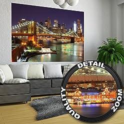 great-art Poster New York Brooklyn Bridge bei Nacht - 140 x 100 cm Wandposter Fotoposter USA NYC Wolkenkratzer Wanddeko