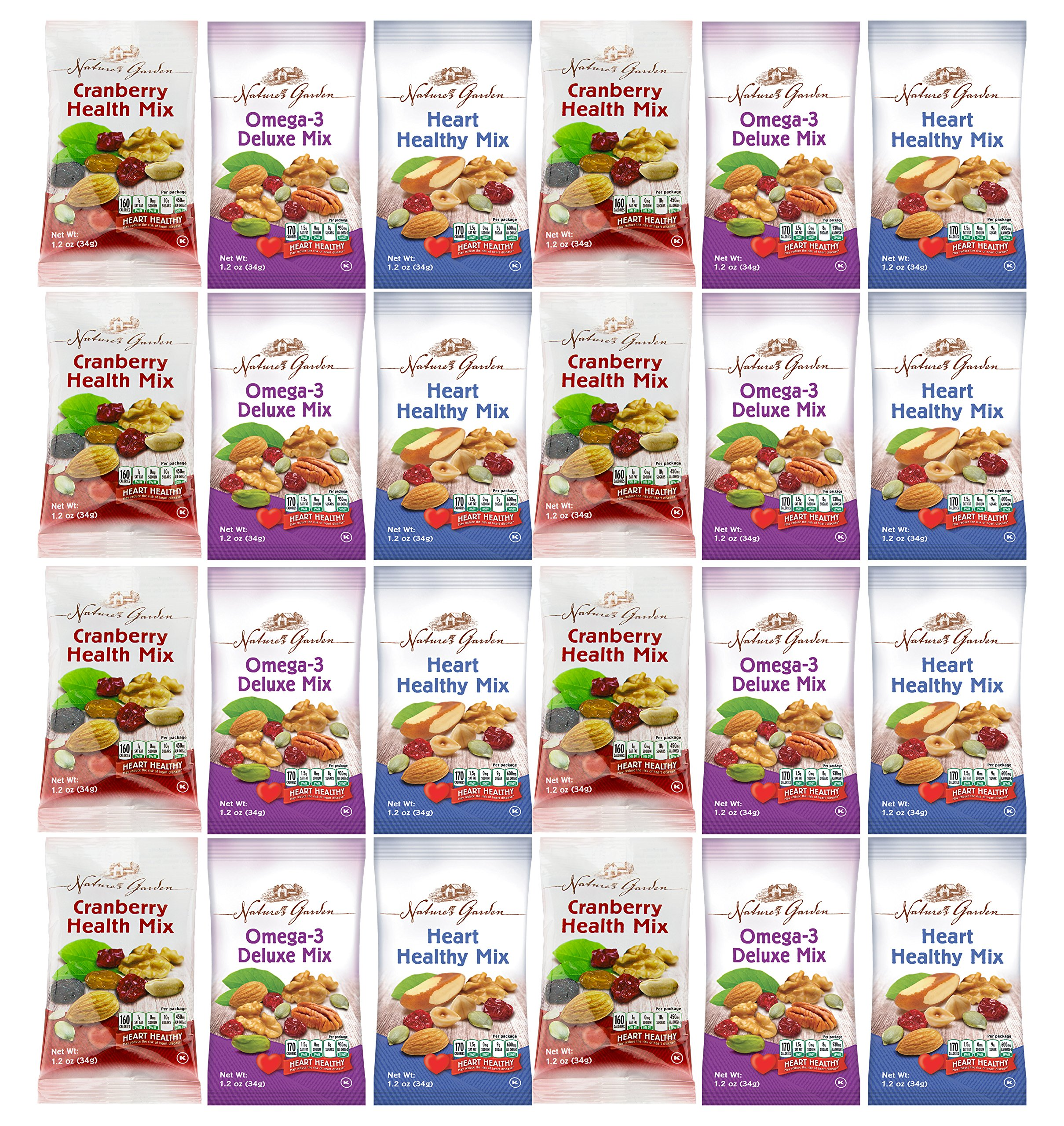 Healthy Premium Assorted Nuts and Fruits Snack Mix Sampler Variety Pack, Good for the Heart (24 Count)