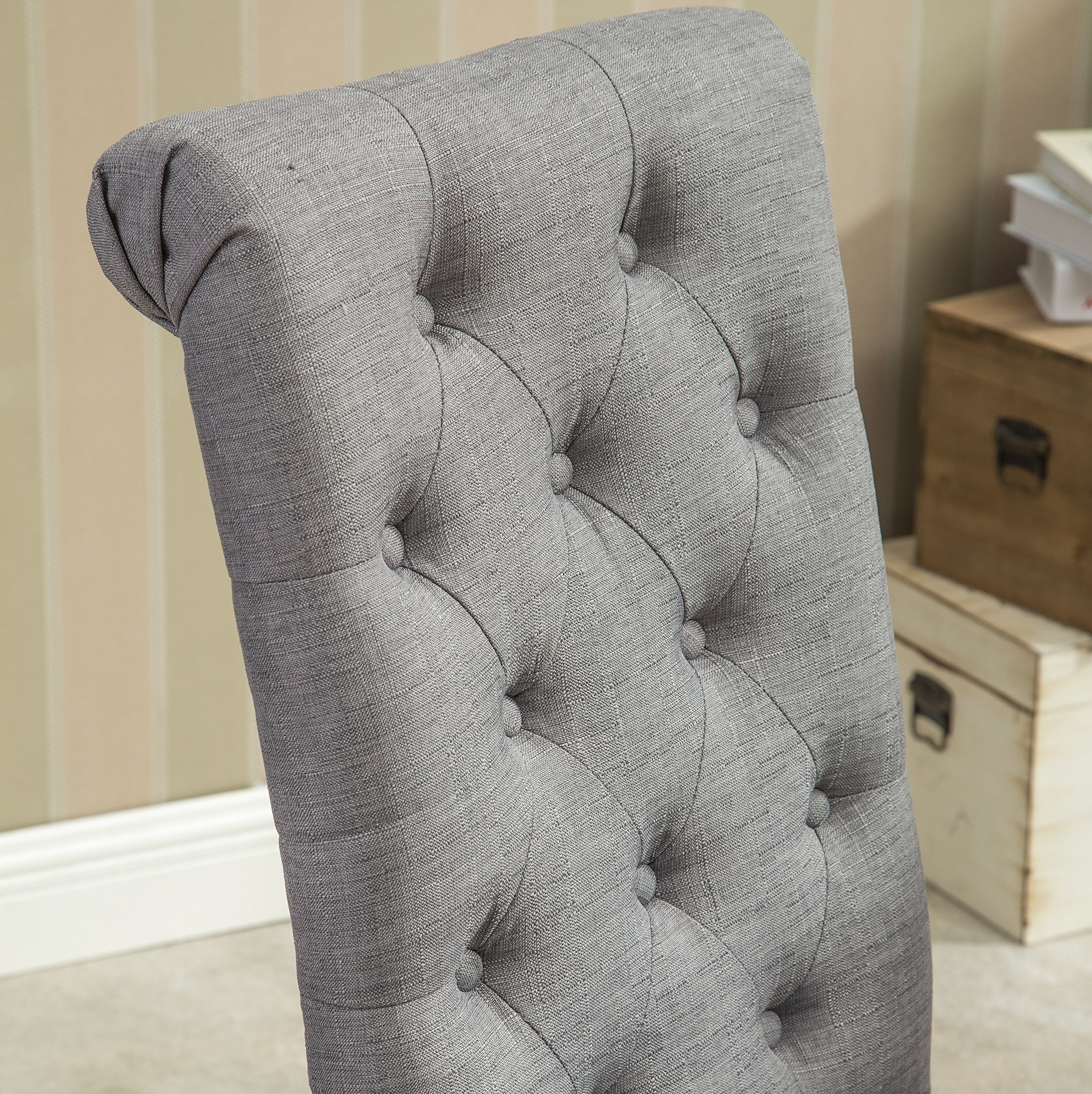 Roundhill Furniture Habit Grey Solid Wood Tufted Parsons Dining Chair (Set of 2), Gray by Roundhill Furniture (Image #5)