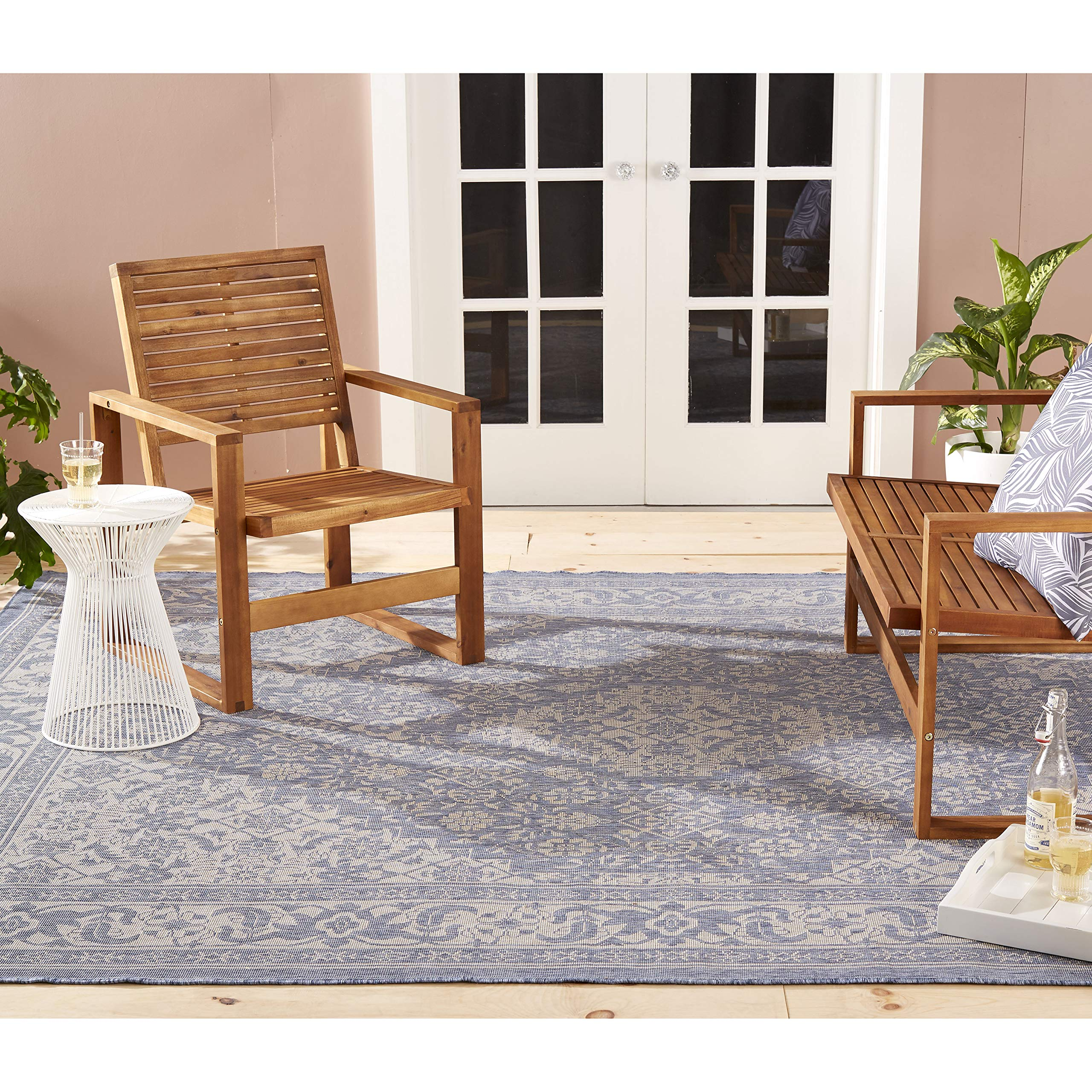 Home Dynamix Nicole Miller Patio Country Dahlia Indoor/Outdoor Area Rug 5'2''x7'2'', Traditional Medallion Blue/Gray