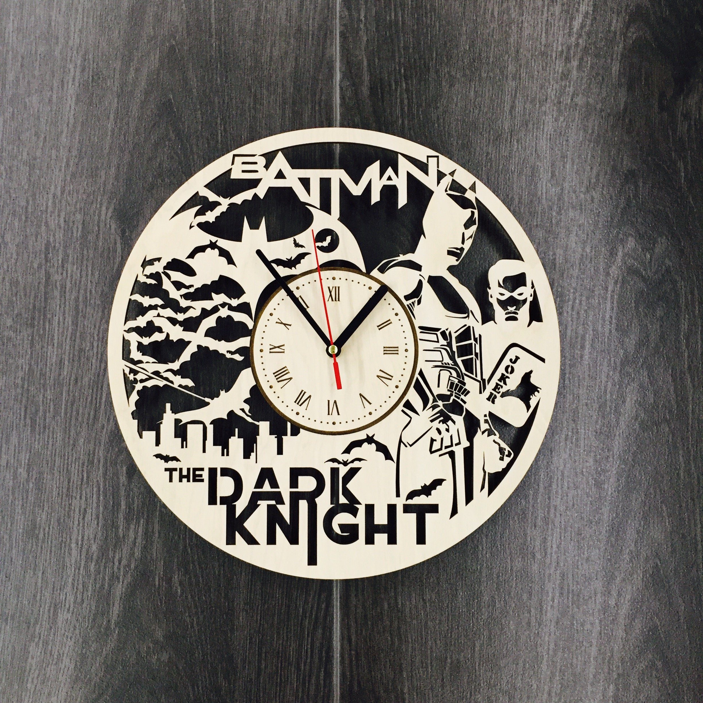 Batman Joker Wall Clock Made of WOOD - Perfect and Beautifully Cut - Decorate your Home with MODERN ART - UNIQUE GIFT for Him and Her - Size 12 Inches