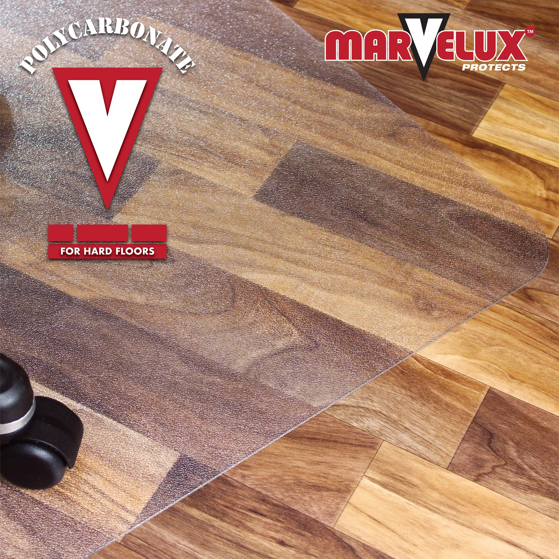 Marvelux 48'' x 60'' Heavy Duty Polycarbonate (PC) Rectangular Chair Mat for Hard Floors | Transparent Hardwood Floor Protector | Multiple Sizes by Marvelux (Image #3)
