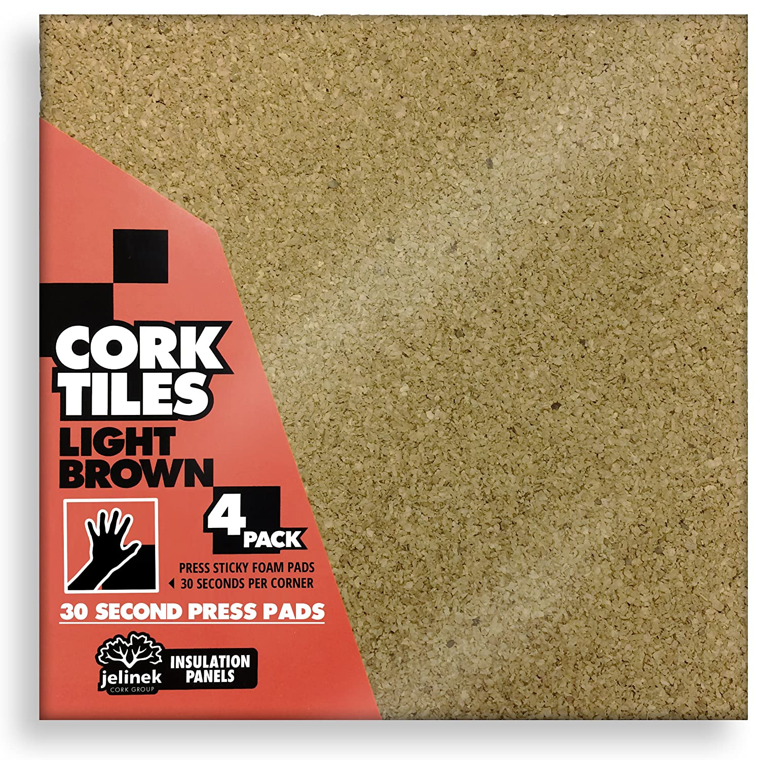 12 x 12 Light Brown Cork Tiles - Pack of 4 Jelinek Cork Group wlins-lig30530550n-p4