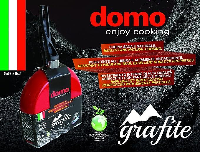 domo enjoy cooking Juego de sartenes antiadherentes, efecto piedra con revestimiento Ai minerales, Linea Grafito (diámetro 20/24/28 cm): Amazon.es: Hogar