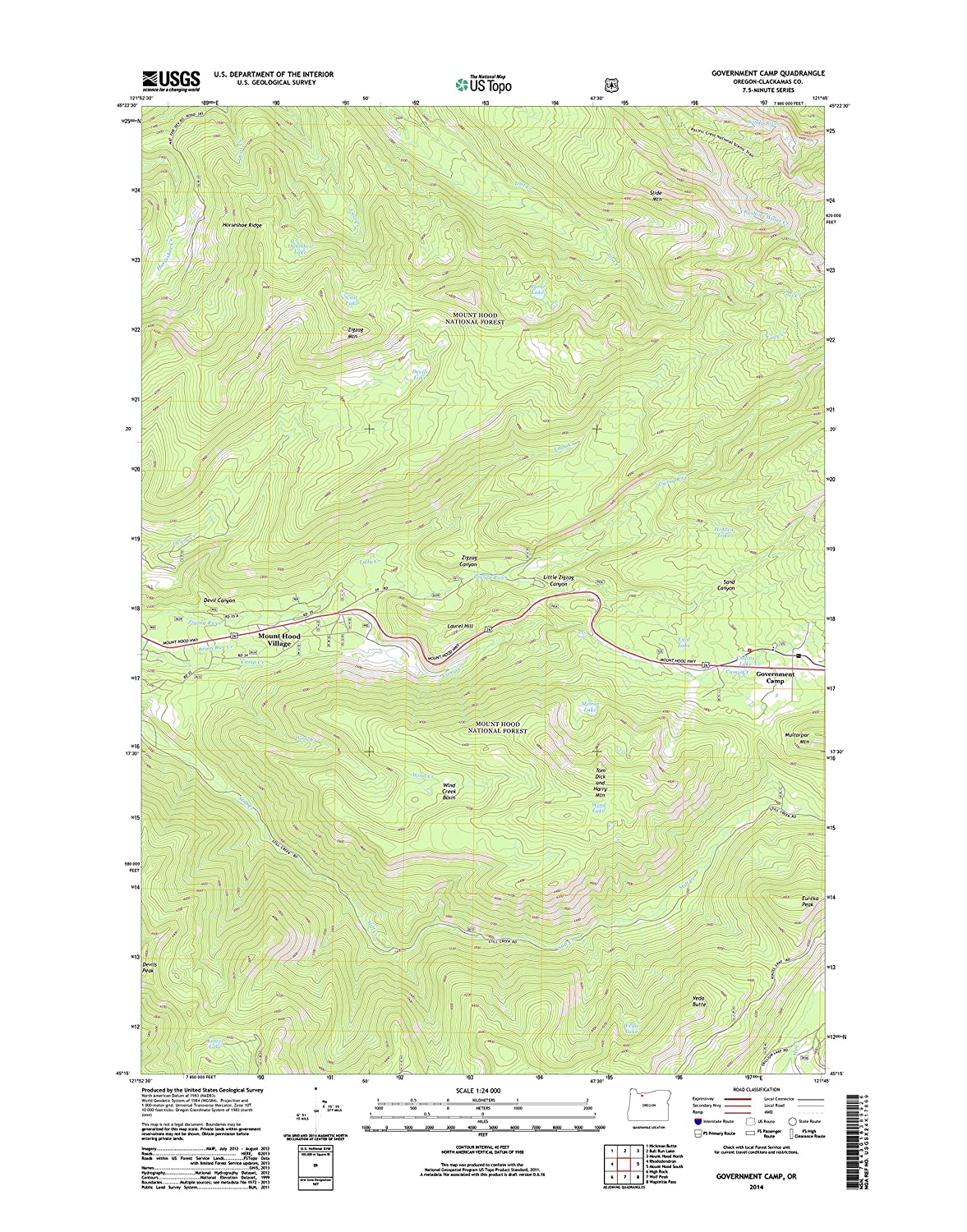 Amazon.com: Topographic Map Poster - GOVERNMENT CAMP, OR TNM ... on