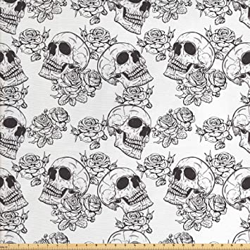 Amazon Com Lunarable Skull Fabric By The Yard Blooms Retro Style