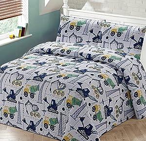 3pc Full/Queen Bedspread Coverlet Quilt Set for Kids Construction Crane Trucks White Blue Green Black Grey.