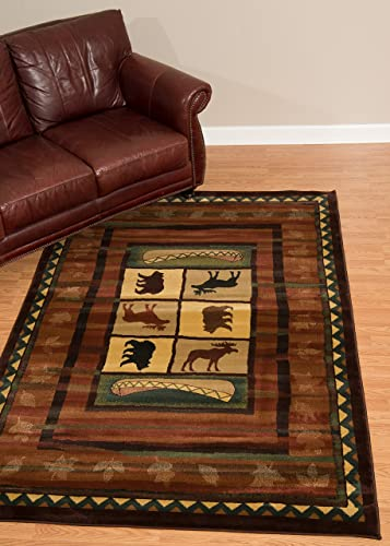 United Weavers of America Genesis Collection Hearthstone Heavyweight Heat Set Olefin Rug, 1-Feet 10-Inch by 3-Feet, Lodge