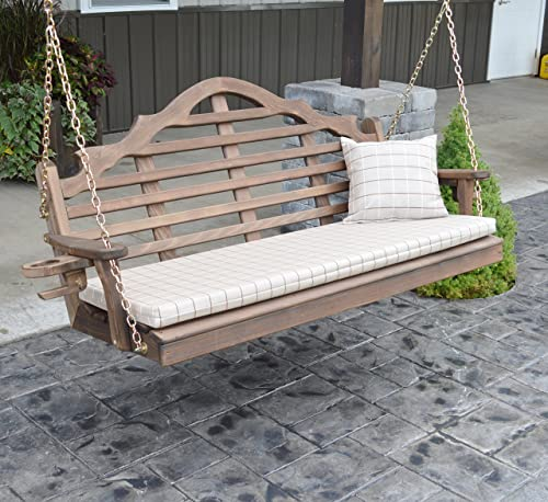 Cedar Porch Swing, Amish Outdoor Hanging Porch Swings, Patio Wooden 2 Person Seat Swinging Bench, Weather Resistant Western Red Cedar Wood, 6 Styles 5ft, Lutyen Walnut Stain with Cup Holders
