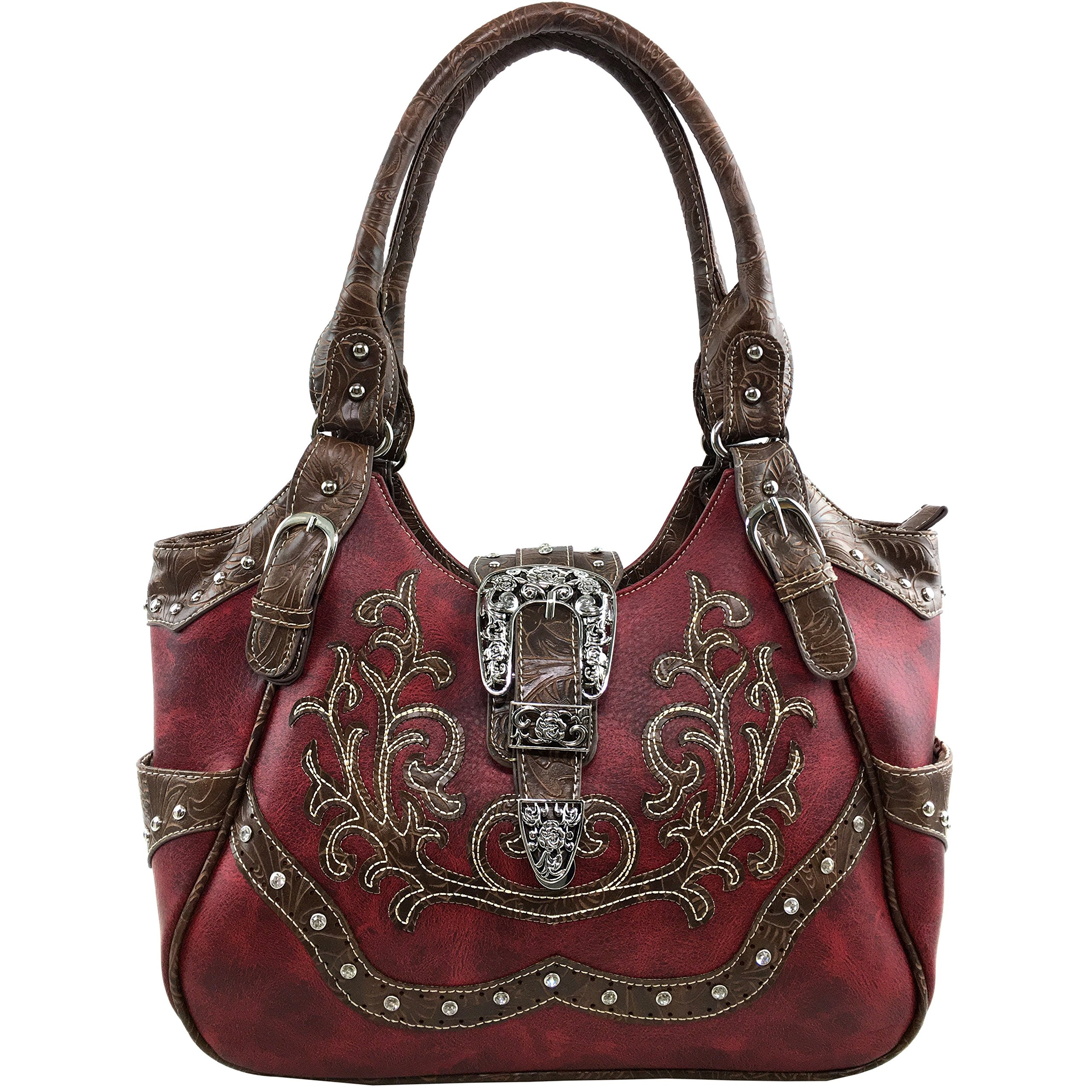Justin West Tooled Laser Cut Leather Floral Embroidery Rhinestone Buckle Studded Shoulder Concealed Carry Tote Style Handbag Purse (Red Purse)