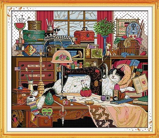 itstitch Kits de punto de cruz, 14 ct, el gato y máquina de coser ...