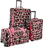 Rockland Luggage 3 Piece Printed Luggage Set, Pink Giraffe, Medium