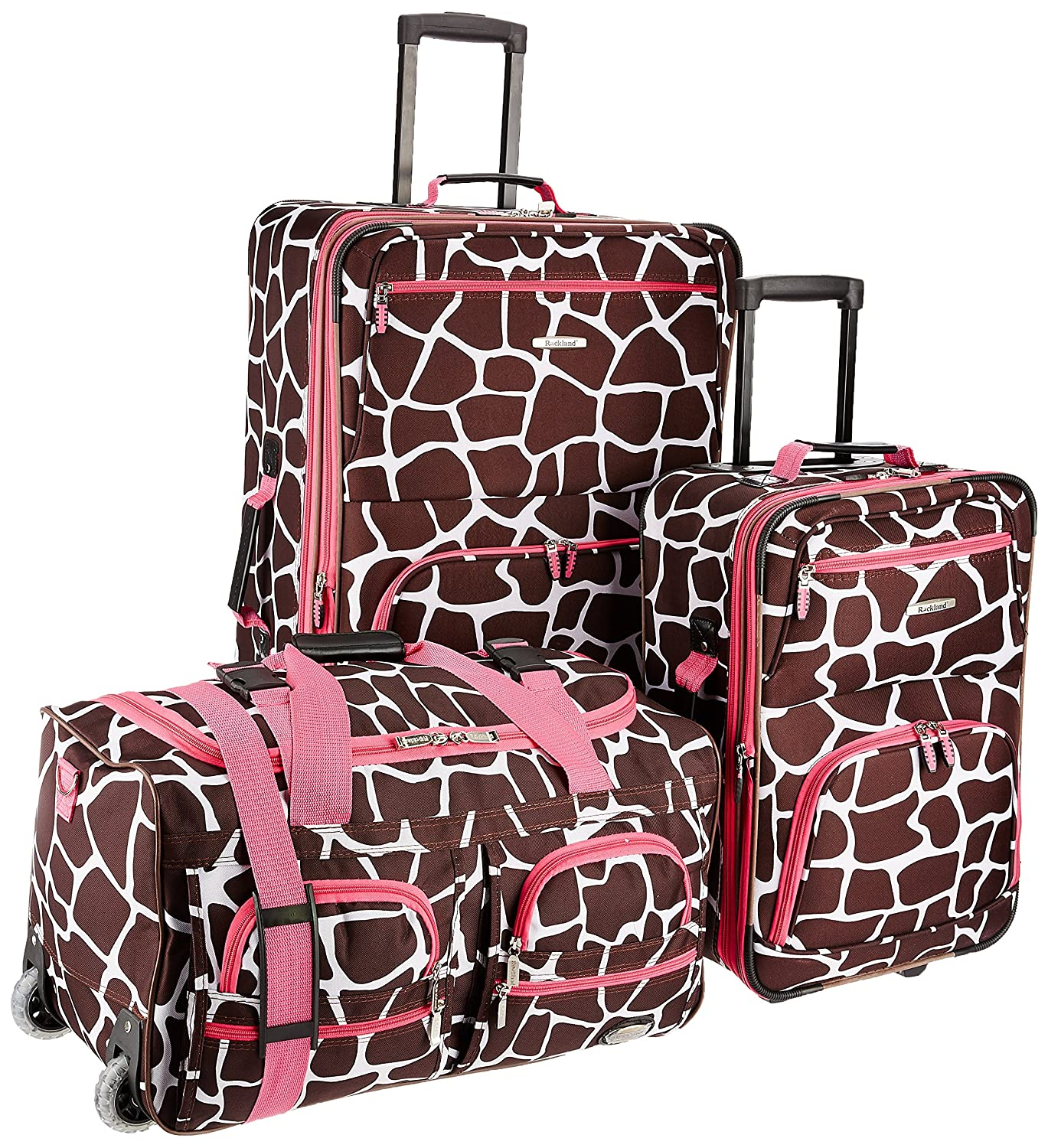 Rockland 3 Piece Luggage Set, Pink Leopard, One Size Fox Luggage F165-PINKLEOPARD