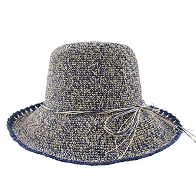 7dcbd00129c79 Ledamon Women s Straw Hat Wide Brim Floppy Sun Hat Beach Summer Travel Sun  Protection Hat Cap