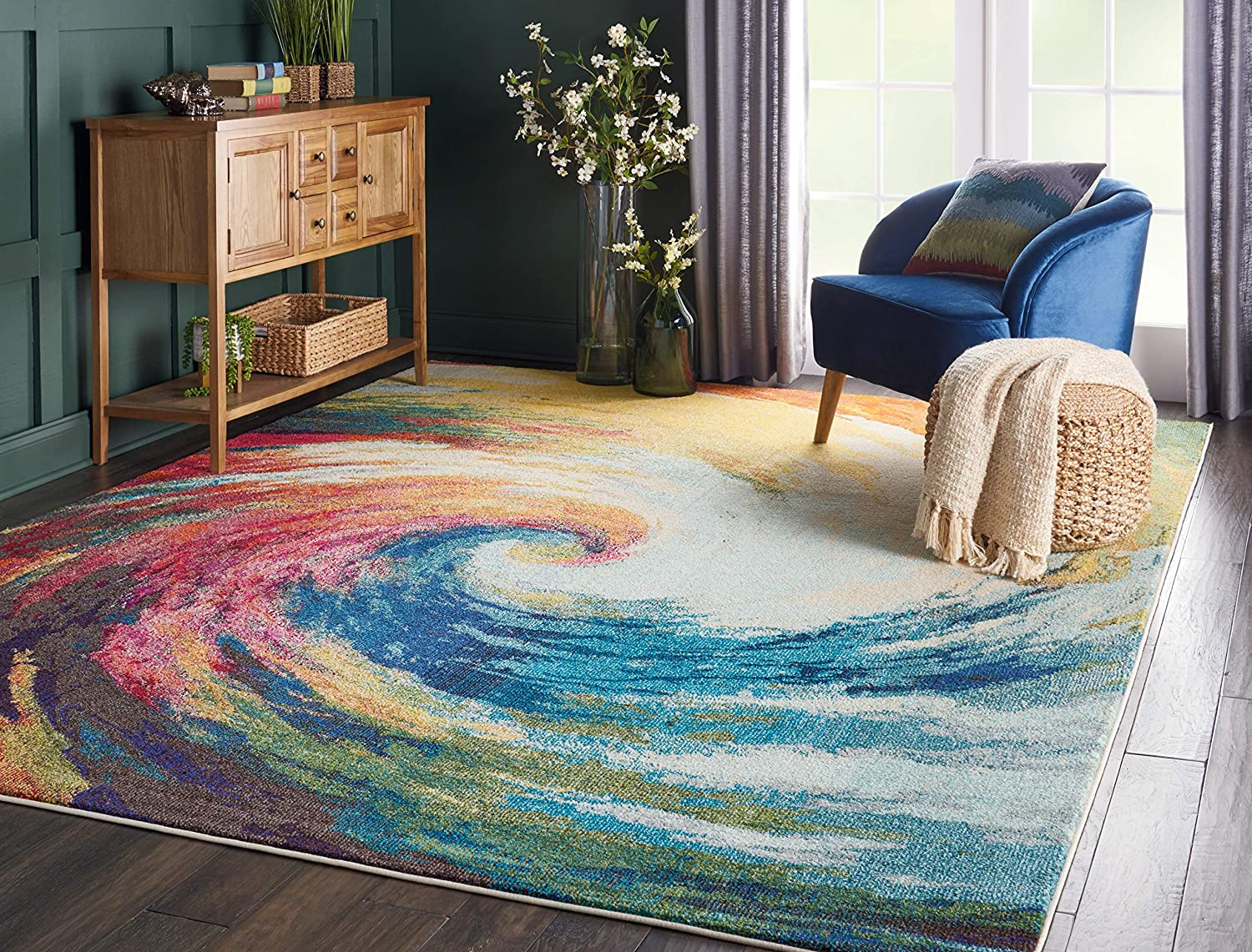 """Nourison Celestial Modern Bohemian Wave Multicolored Area Rug 7 feet 10 Inches by 10 Feet 6 Inches, 7'10"""" x 10'6"""""""