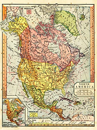 Amazon.de: MAP ANTIGUE 1885 CONTINENTAL NORTH AMERICA TIME ...
