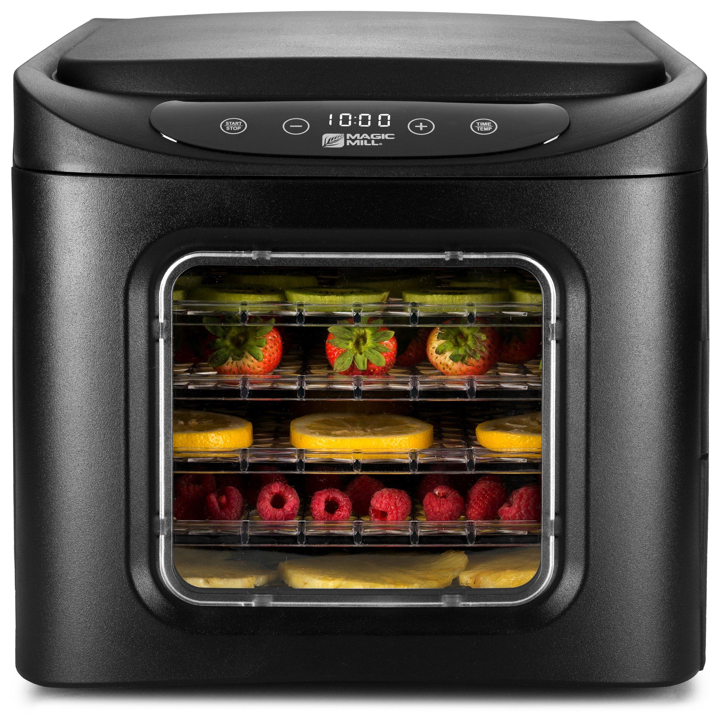 MAGIC MILL Professional Food Dehydrator Machine, 6 Drying Racks, Multi-Tier Food Preserver, Digital Control 2 Fruit Leather Trays, 2 Fine Mesh Sheets,