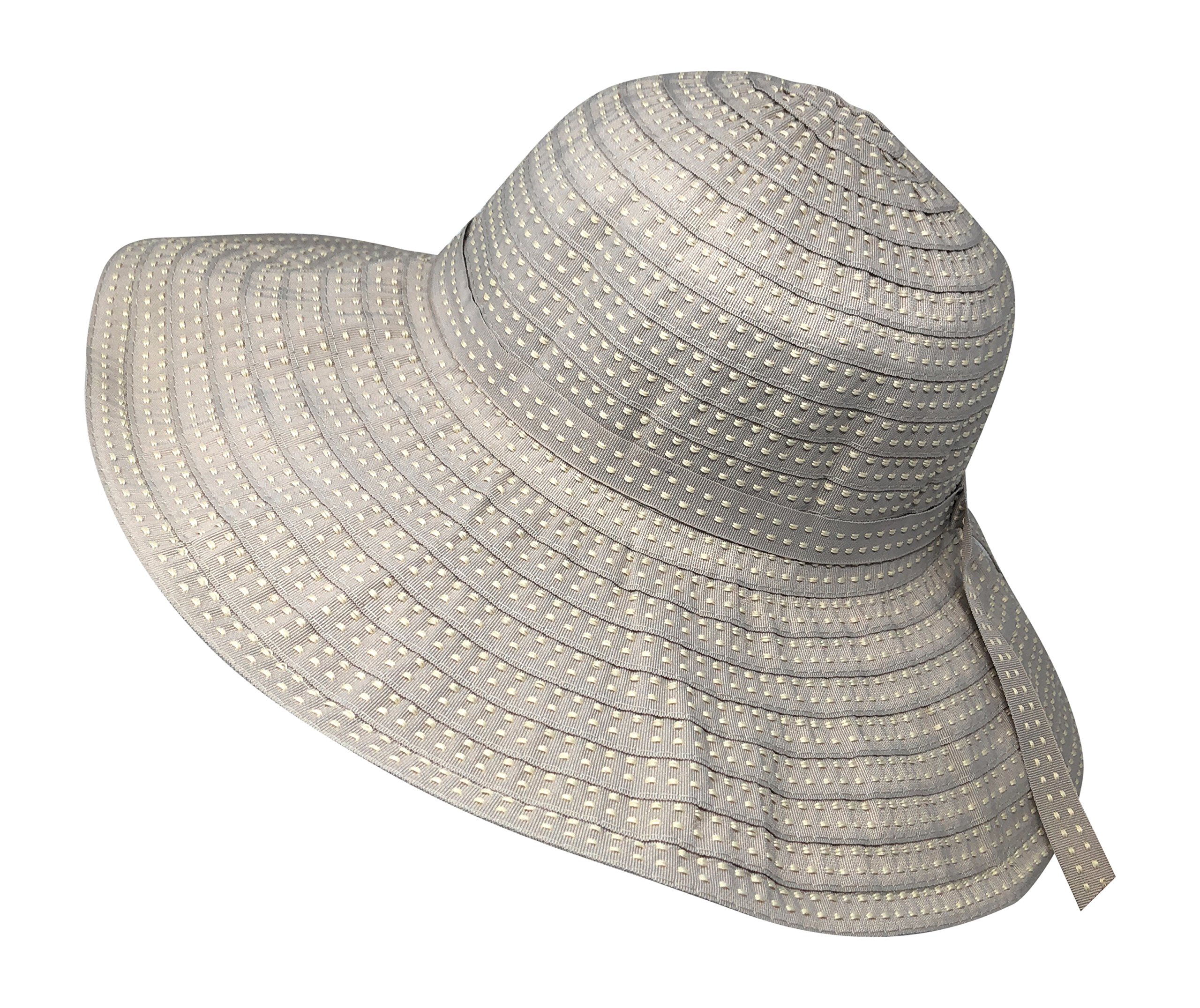 Packable Ribbon Crusher Sun Shade Beach Hat, Adjustable Wide Shapeable Brim, SPF UPF 50 UV Protection (Beige)