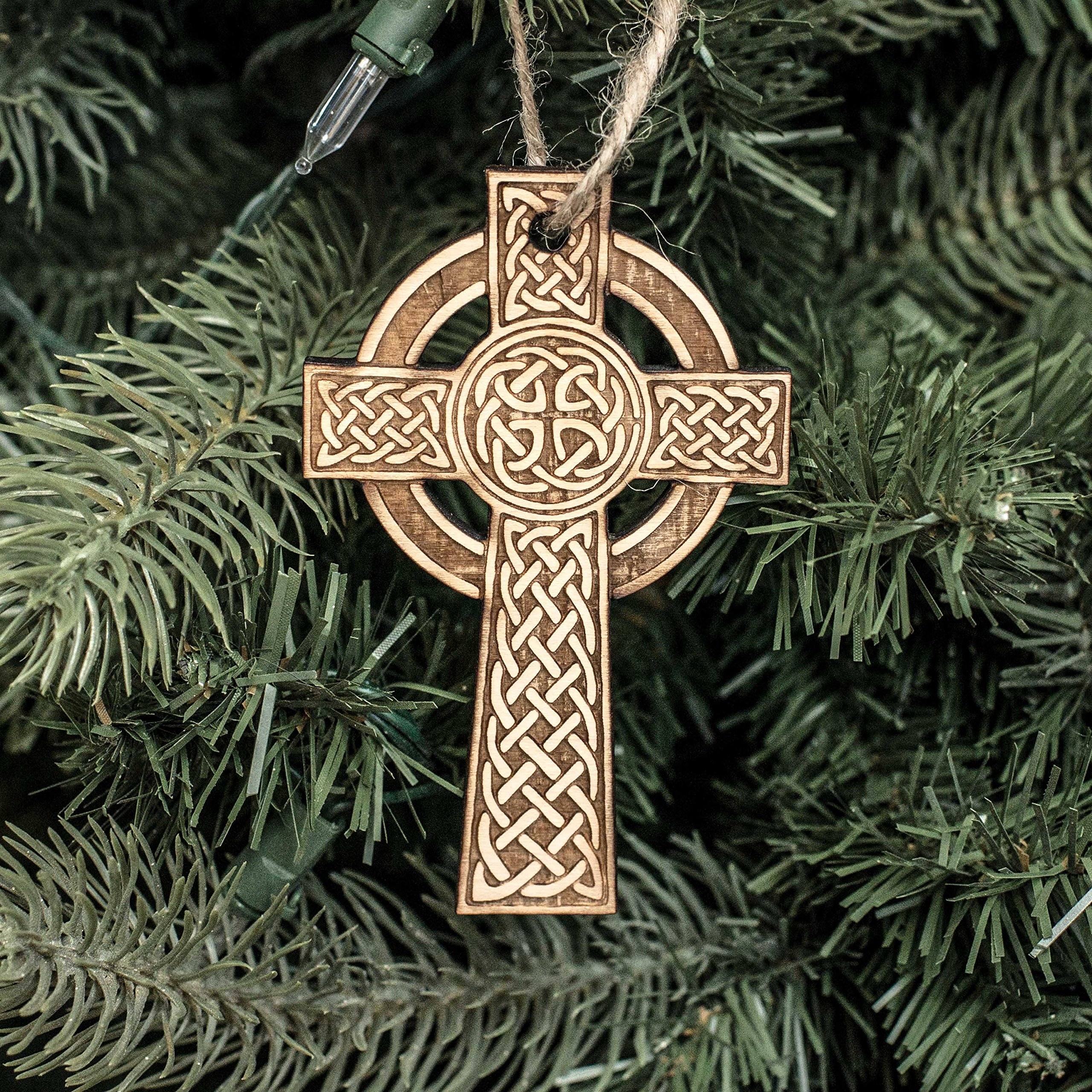 Ornament - Celtic Cross - Raw Wood 2x4in by Hip Flask Plus