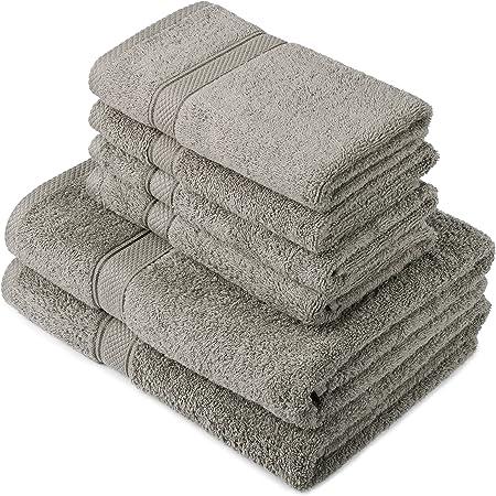 Pinzon by Amazon - Juego de toallas de algodón egipcio (2 toallas de baño y 4 toallas de manos), color gris: Amazon.es: Hogar