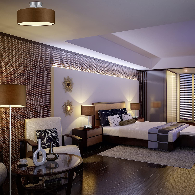 lightling modern Deckenleuchte in nickel matt, Stoffschirm schwarz, 5 x E27 max. 60W, ø 65 cm, Höhe: 17 cm Stehleuchte - Weiß