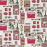 Tissu de coton imprimé | Collection 'Cache Cache' | Mercerie Ecru Rose | 140cm (0,50 mètre)