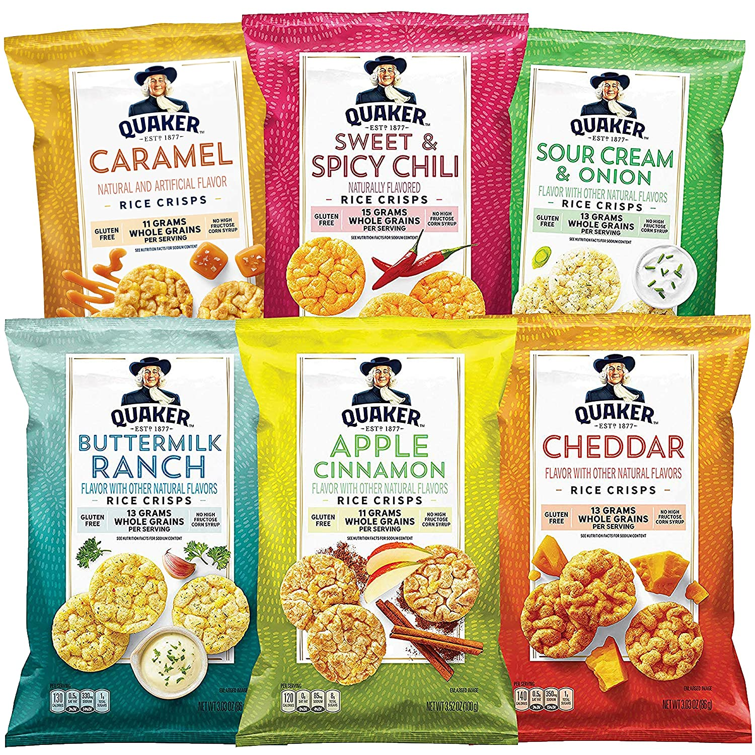 Quaker Rice Crisps, 6 Flavor Variety Pack, 12 Count