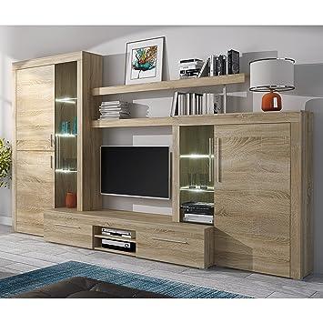 Homely - Mueble de salón Modular Menorca Mueble TV y vitrinas Color Roble Sonoma de 296 cm