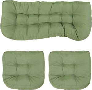 Sunnydaze Tufted 3-Piece Indoor/Outdoor Settee Cushion Set - 300D Olefin with Polyester Fill - Outdoor Bench, Couch or Loveseat Replacement Cushions - Green
