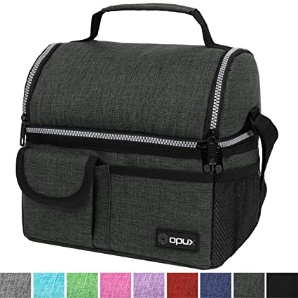 a78963950635 OPUX Insulated Dual Compartment Lunch Bag for Men, Women | Double Deck  Reusable Lunch Pail Cooler Bag with Shoulder Strap, Soft Leakproof Liner |  ...