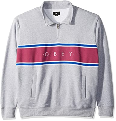 e6ed58e9 Obey Men's Palisade Mock Neck Zip Sweatshirt, Heather Grey, S ...
