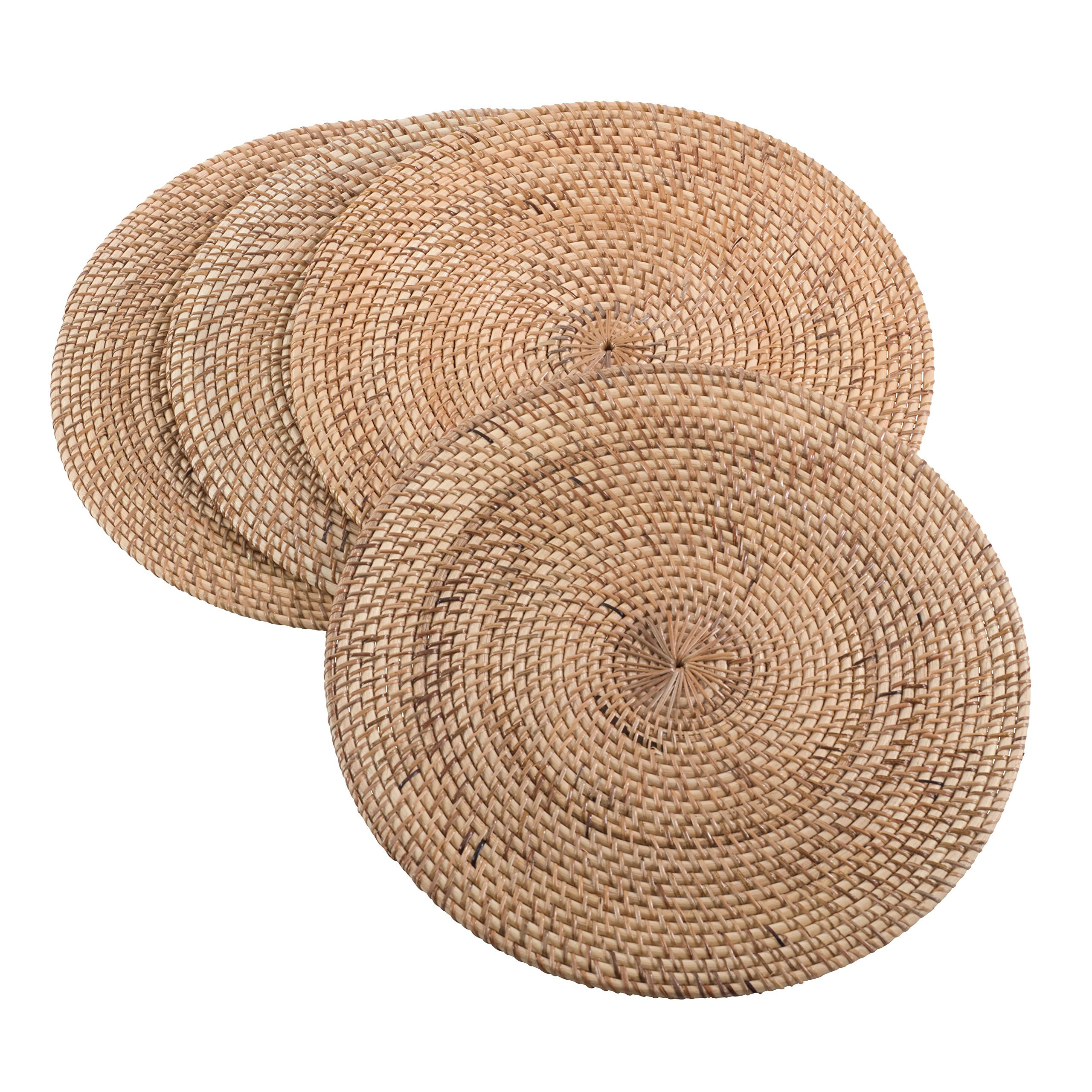 SARO LIFESTYLE Round Hand Woven Rattan Placemat, Set of 4, 15'', Natural