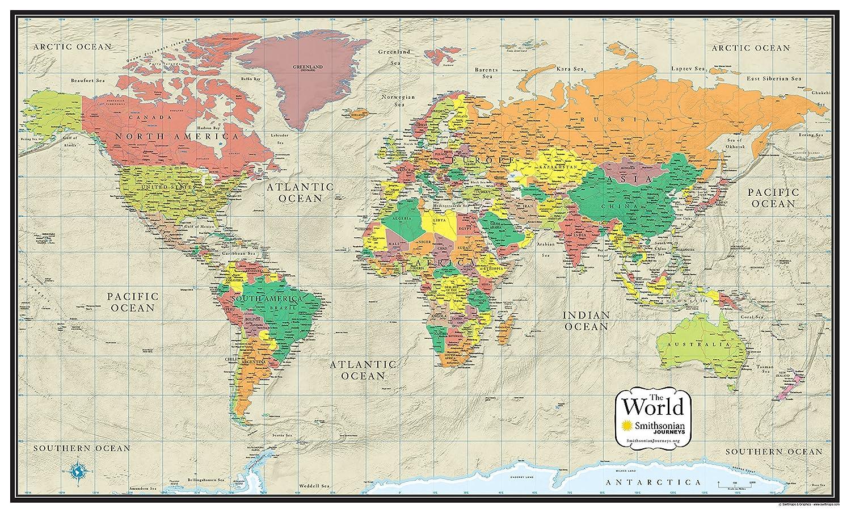 Amazon.com : 24x36 World Wall Map by Smithsonian Journeys - Tan ...