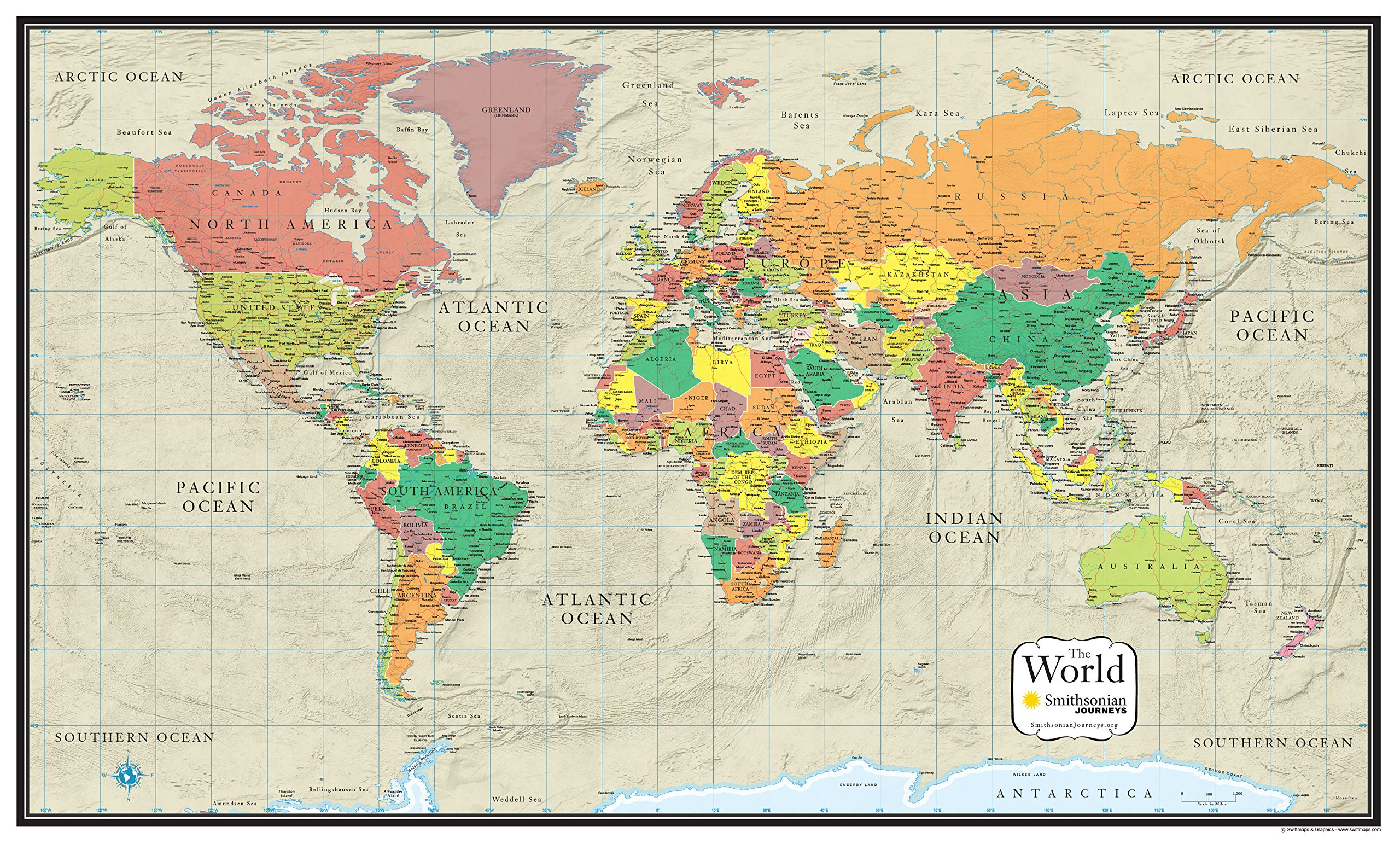 24x36 World Wall Map by Smithsonian Journeys - Tan Oceans Special Edition (24x36 Laminated)