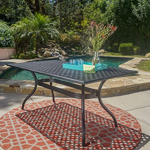 Christopher Knight Home Taylor Black Sand Cast Aluminum Rectangle Table