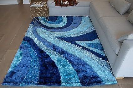 df0e4743becd Amazon.com  New Aqua Turquoise Dark Blue Light Blue 3D Shaggy Area ...