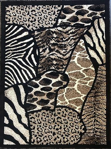 Animal Skin Print Tiger Giraffe Leopard Area Rug Black Design 516 7 Feet 9 Inch X 10 Feet