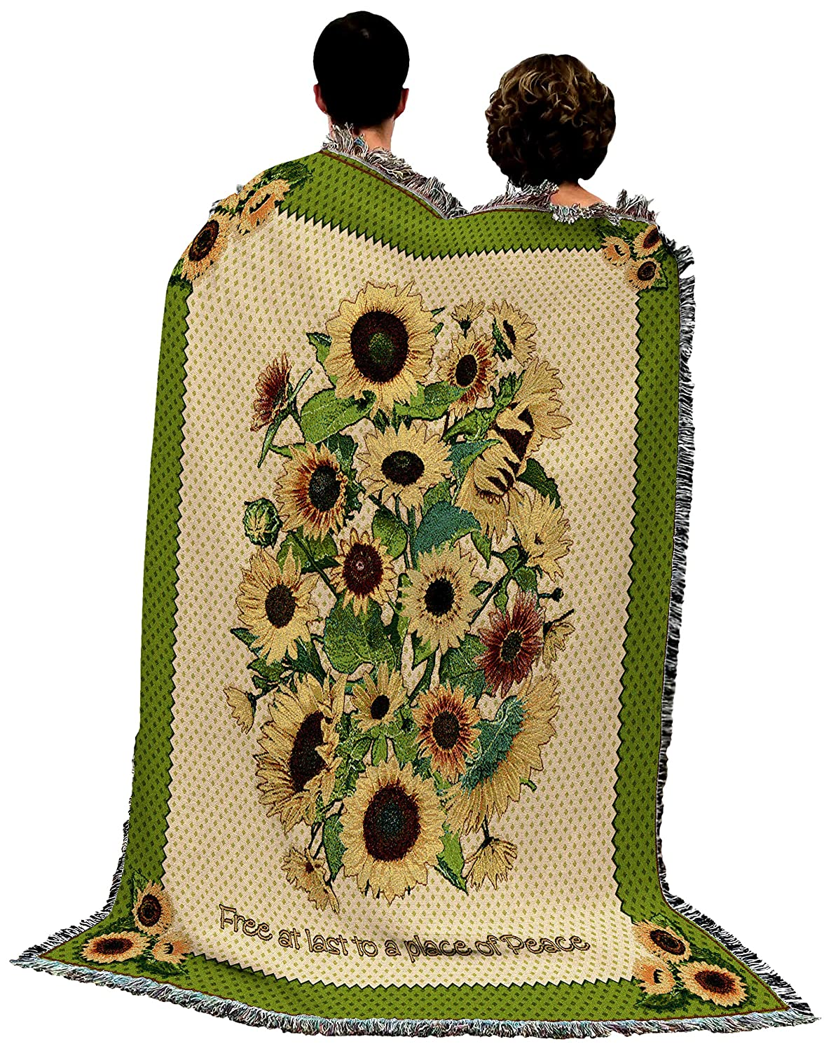Memorial Red Roses Bereavement Sympathy Gift Blanket Woven Tapestry Cotton USA 72x54 Pure Country Weavers
