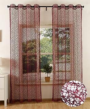 22af6fefe8df95 Gardinenbox Gardine Netz Struktur mit Ösen einfarbig transparent Deko  Vorhang Netzvorhang 2 Stück 245x140 Bordeaux,