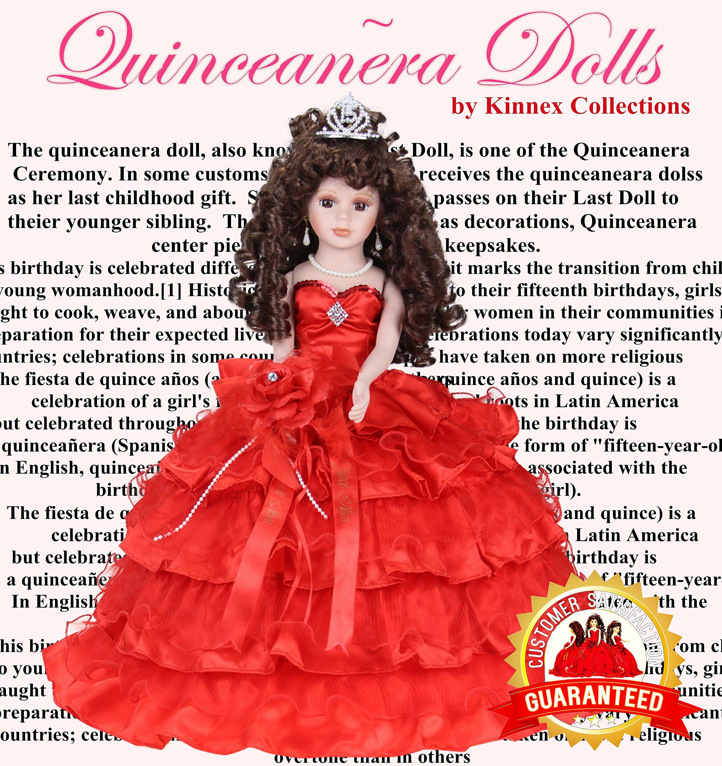 18'' Porcelain Quinceanera Umbrella Doll (Table Centerpiece)~ Red ~ KK18729-14