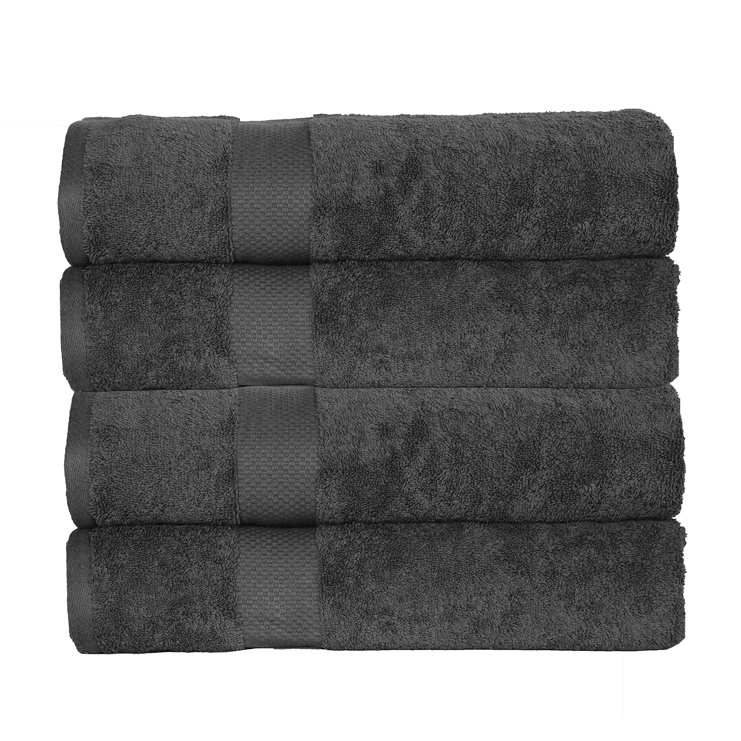 Casa Platino Elegance Spa ESP4 100% Combed Cotton Oversized 4 Piece Bath Sheets, Charcoal