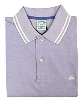 a957460bf Brooks Brothers Men's Slim Fit Performance Pique Striped Collar Polo Shirt  Light Purple (X-